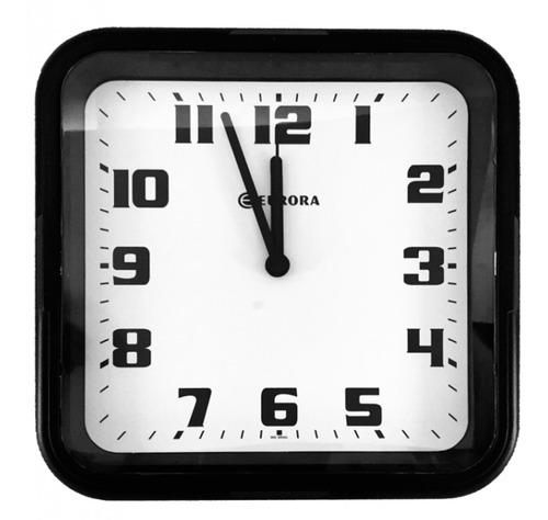 Imagem 1 de 4 de Relógio De Parede Eurora Cozinha Sala Quadrado Preto 6540