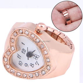 Relógio Anel De Dedo Elástico Tom Cobre Forma Do Coração