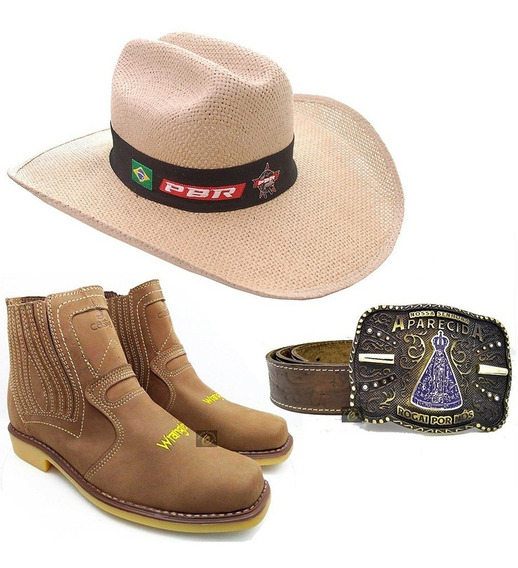 Kit Botina Bota Country Adulto + Cinto Cowboy + Chapéu Rodeo