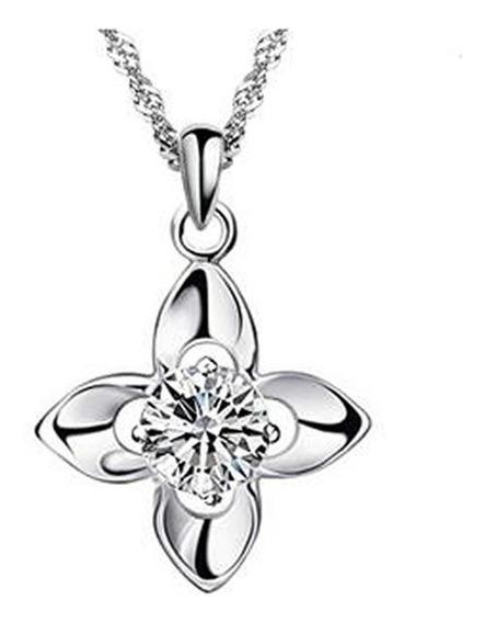Elegante Collar Plata 925 Flor Trébol De Suerte Con Cristal
