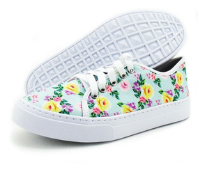 Tênis Casual Slip On Com Estampa Floral - Lançamento