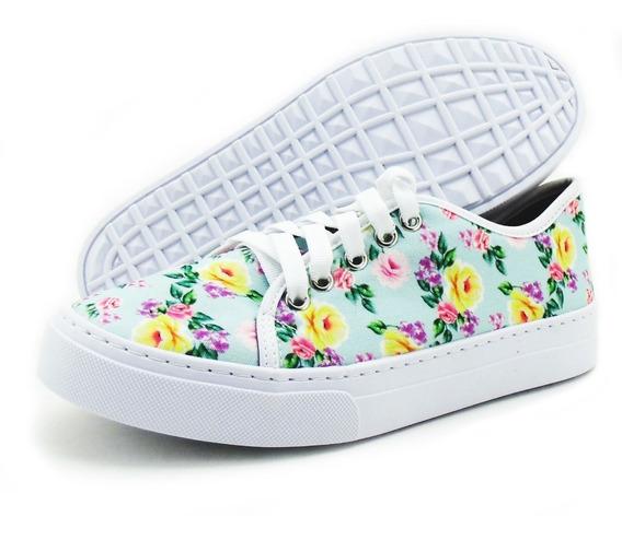 Tênis Casual Slip On Com Estampa Floral Super Macio E Confortável