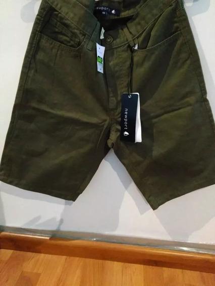 Pantalon Corto Verde Gabardina Newport Talle 42 Elegante 3