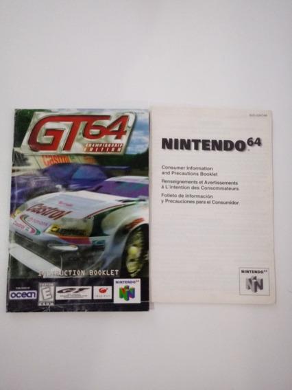 Manual Do Jogo Gt 64 Championship (nintendo 64)