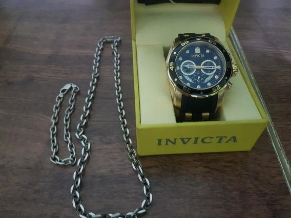 Relógio Invicta Mod. 6981, Mais Cordão E Pulseira De Prata