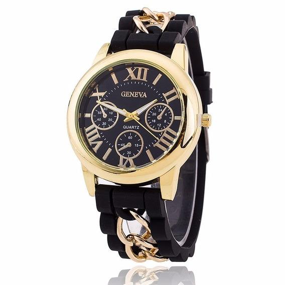 Relógio Dourado Pulseira Silicone Preto Geneva Rg002f