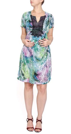 Vestido Gestante Estampado Renda Decote Multicolorido
