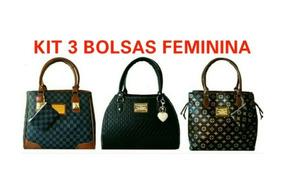 55aefa04c 3x Bolsa Para Mulher Importada De Grife Famosa Presente Luxo
