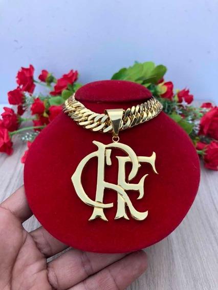 Grumet Duplo Banhado A Ouro + Pingente Do Flamengo Crf 70cm