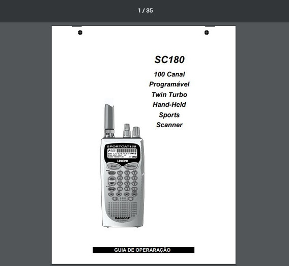Manual Em Português Do Scanner Uniden Sportcat Sc180