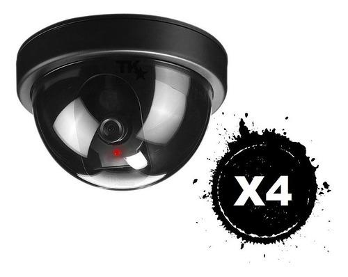 Pack X4 Cámara Falsa De Vigilancia Tipo Domo Replica Exacta