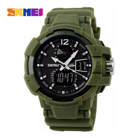 Relógio Militar Digital Analógio Verde Aprova Dagua Skmei