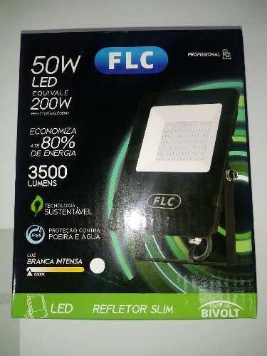 Refletor Led Holofote 50w Biv Ip65 Branco Frio Flc