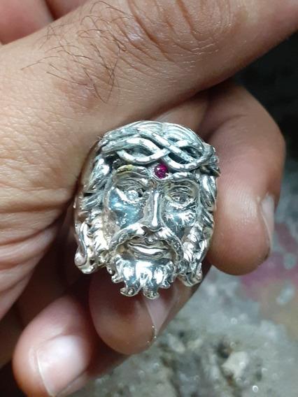 Anel Jesus Cristo Em Prata 950 Com Pedras