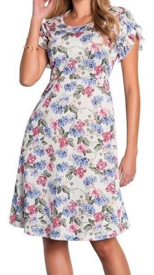 Vestido Feminino Moda Evangélica Babado Floral