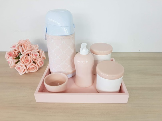 Kit Higiene Porcelana Bebe Rosa Garrafa Com Capa