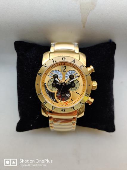 Relógio Masculino Bv Hybrid Gold Automatico Dourado Em Aço