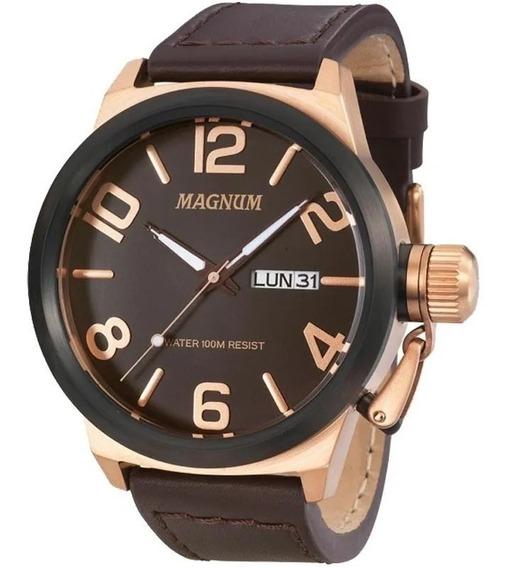 Relógio Magnum Masculino Ma33399z Rose Pulseira Couro Marrom