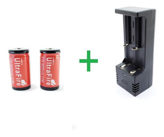 Carregador Duplo + 2 Baterias Cr123a 16340 Ultrafire