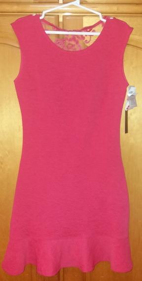 Vestido Social Curto Novo Rosa Com Etiqueta.