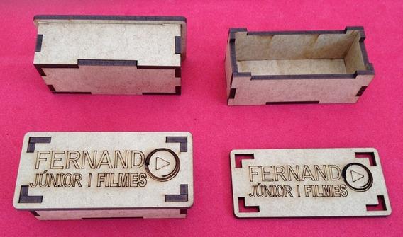 20 Caixinha Mdf Porta Pen Drive Com Logo Gravada