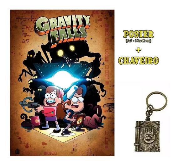 Chaveiro Gravity Falls Diário 3 Em Metal Dourado + Poster