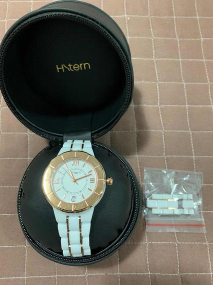 Relógio Feminino Hstern Original De Cerâmica Branco E Rose