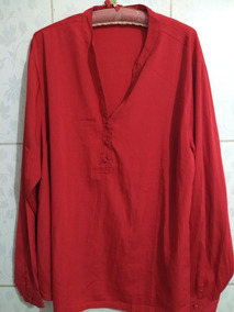 Camisa Vermelha Plus Size Tam 54