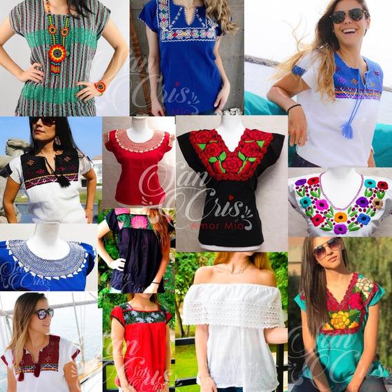 Paca / Lote De 50 Blusas Artesanales Bordadas En Chiapas