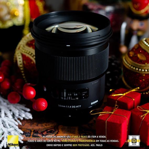 Lente Sigma 50mm F/1.4 Dg Hsm Art Autofoco Nikon - Usada