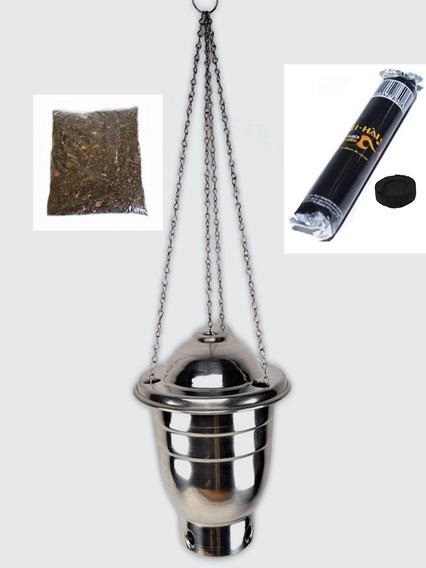 Kit Defumação Turíbulo 9,5cm / Carvão / Mistura 7 Ervas 500g