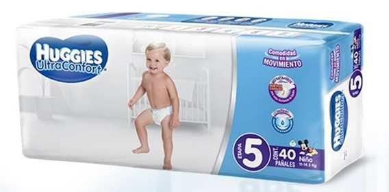 Pañal Huggies Ultra Confort E-5 Niño 40 Uni.