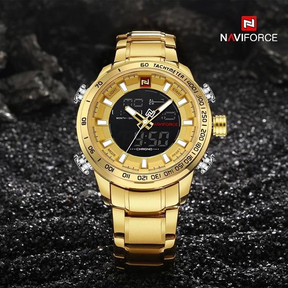 Relógio Masculino Naviforce 9093 Todo Aço Digital Analógico