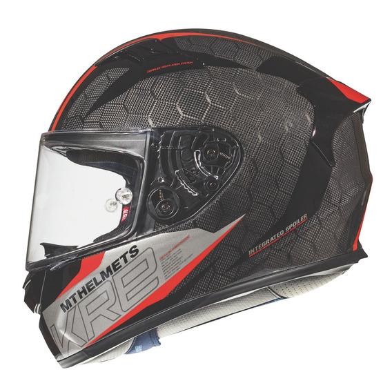 Casco Moto Mt Kre Snake Carbono 2.0 Rojo Brillo + Tear Off