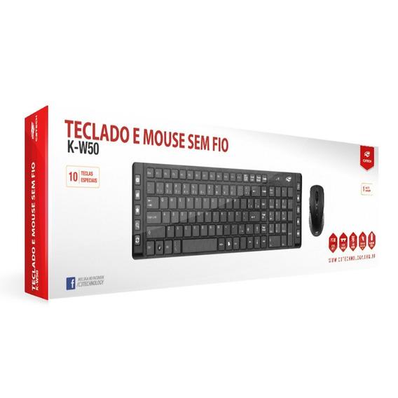 Teclado Com Mouse Sem Fio Wireless C3 Tech 50bk