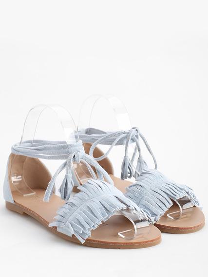 Sandalias Casuales De Tacón Plano Con Flecos Para Mujer