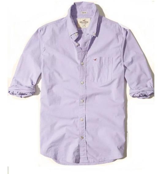 Hollister Camisa Poplin Lisa Color Lila Originales Sale