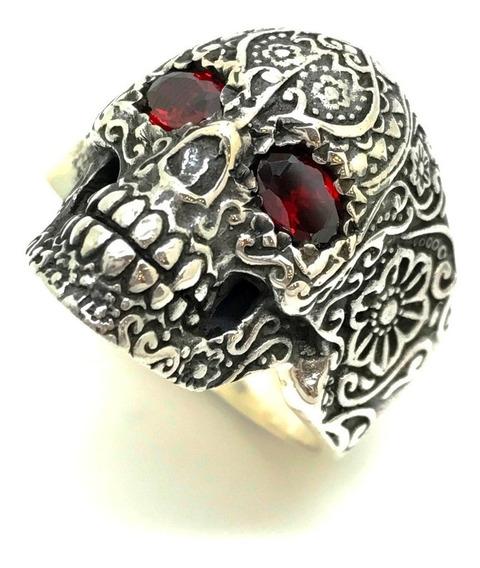 Anel Cranio Caveira Mexicana Rubi Prata De Lei 950 - 22701