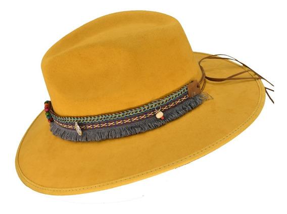 Sombrero Gamuza Indiana Hipster Vintage Toquilla De Lujo
