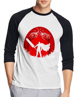 Camiseta Raglan Berserker Ovo Behelit Anime Três Quartos