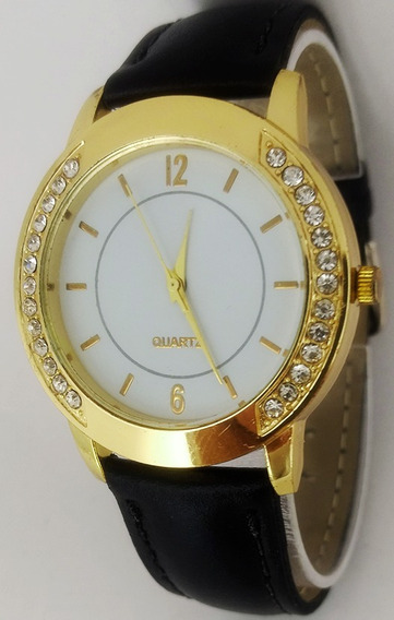 Relógio Barato Feminino Dourado Strass