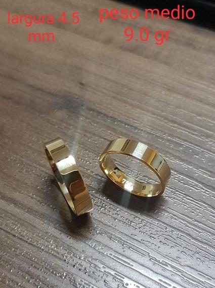 Par De Alianças Casamento Em Ouro Amarelo 18k 9.0g