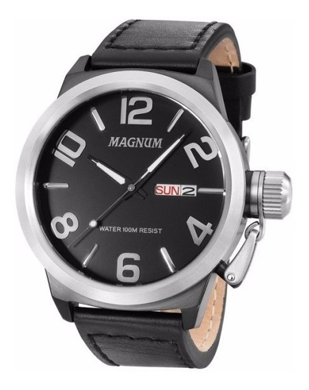 Relógio Magnum Masculino Ma33399t Aço Couro Analogico Oferta