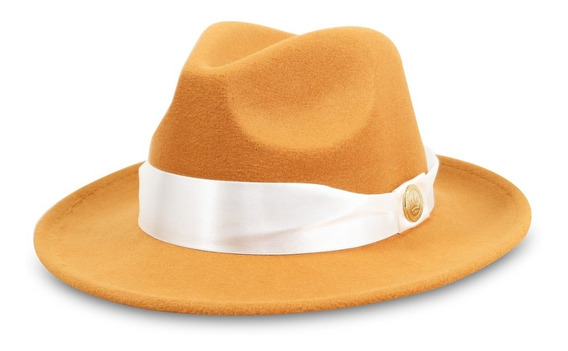 Chapéu Fedora Caramelo Unisex Aba 6,5cm Fxa Cetim Cor Perola