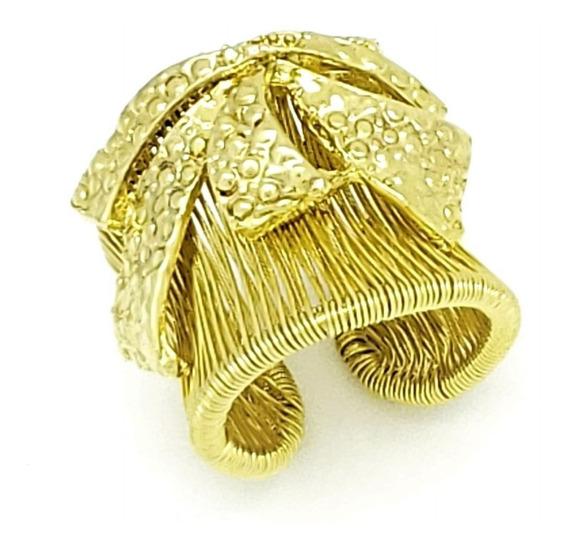 Anel Laço Em Aro Aramado Ajustável Banhado Em Ouro 18k 1506