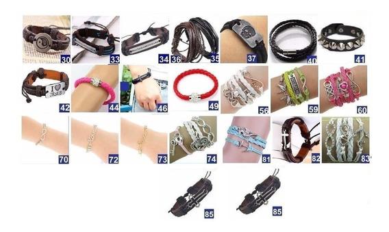 40 Pulseira Bracelete Couro Ajustavel Masculino Feminino