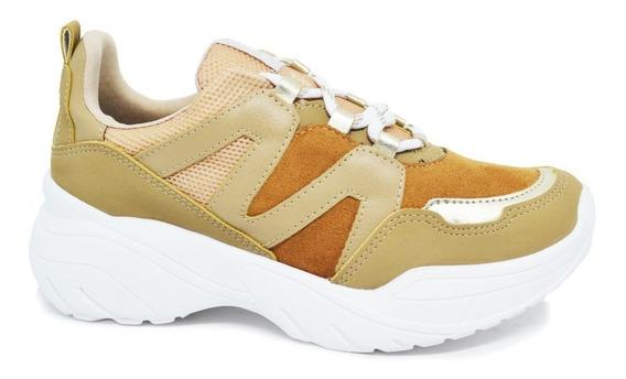 Tênis Feminino Via Marte Sneaker Dad Chunky 19-13202 Amêndoa