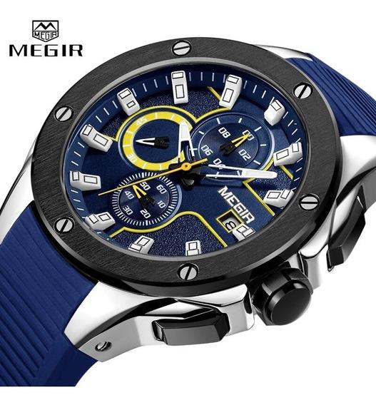 Relógio Masculino Megir De Luxo Azul Ponteiros Funcionais Original Mais Barato Grife Cronógrafo/cronômetro/calendário