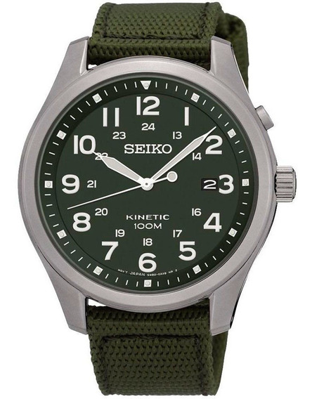 Relogio Masculino Seiko Kinetic Militar Ska725b1 Dm 42,3mm