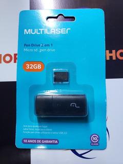 Cartão De Memoria 32gb Class 10 Multilaser + Pen Driver